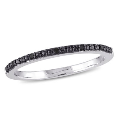 Womens Diamond Accent Color Enhanced Black Diamond Sterling Silver Wedding Band