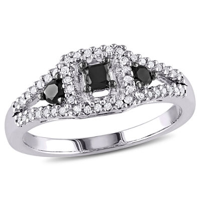 Womens 1/2 CT. T.W. Color Enhanced Black & White  Diamond Sterling Silver 3-Stone Ring