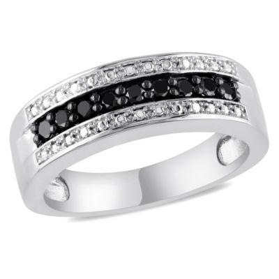 Womens 1/4 CT. T.W. Color Enhanced Black Diamond Sterling Silver Wedding Band