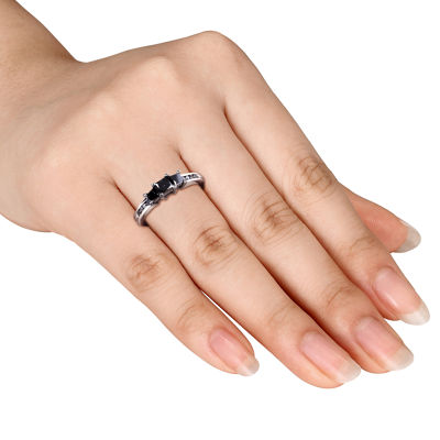 Womens 1 CT. T.W. Black Diamond Sterling Silver 3-Stone Ring