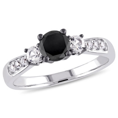 Womens 3/4 Ct. T.W. Color Enhanced Round Black Diamond & Lab Created White Sapphire Sterling Silver 3-Stone Ring