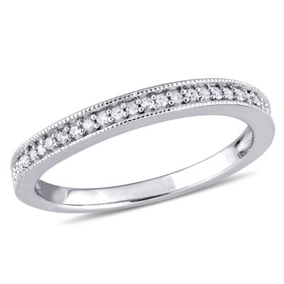 Womens 1/8 CT. T.W. Genuine White Diamond Sterling Silver Wedding Band