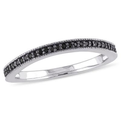 Womens 1/7 CT. T.W. Black Diamond Sterling Silver Wedding Band