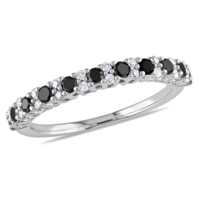 Womens 1/2 CT. T.W. Color Enhanced Black & White  Diamond Sterling Silver Wedding Band