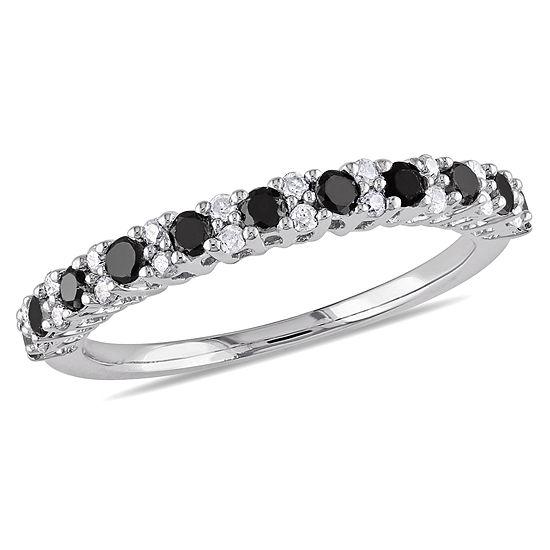 Womens 1/2 CT. T.W. Color Enhanced Black & White  Diamond Sterling Silver Wedding Band