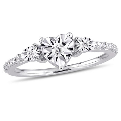 Womens 1/7 CT. T.W. Round White Diamond Sterling Silver 3-Stone Ring