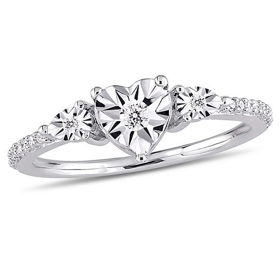 Womens 1/7 CT. T.W. Genuine White Diamond Sterling Silver 3-Stone Engagement Ring