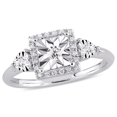 Womens 1/6 CT. T.W. Round White Diamond Sterling Silver 3-Stone Ring