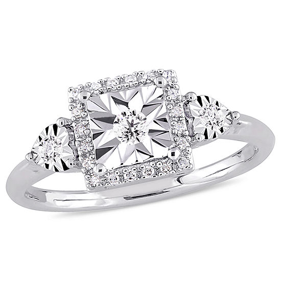 Womens 1/6 CT. T.W. Genuine White Diamond Sterling Silver 3-Stone Engagement Ring