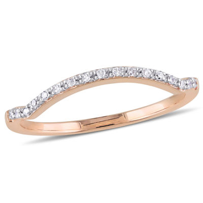 Womens Diamond Accent Genuine White Diamond Accent 10K Rose Gold Wedding Band