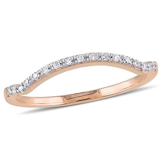 Womens Diamond Accent Genuine White Diamond 10k Rose Gold Wedding Band