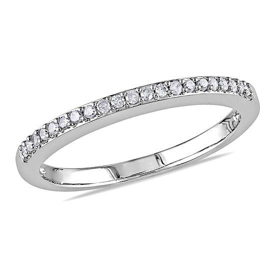 Womens 1/10 CT. T.W. Genuine White Diamond 10K White Gold Wedding Band