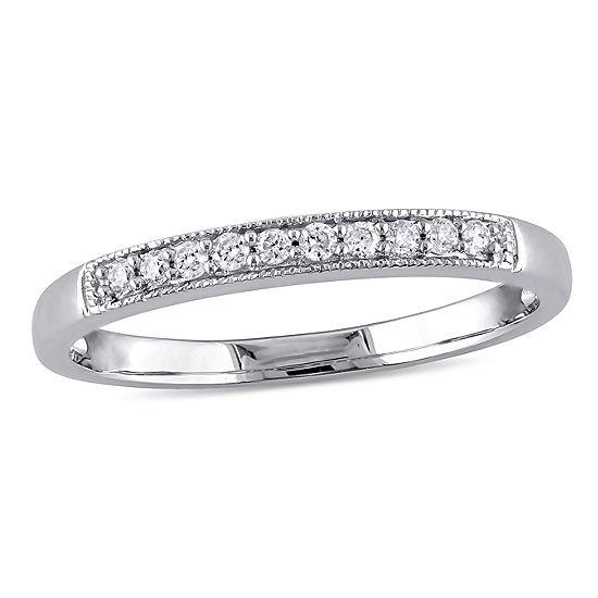 Womens 1 10 Ct Tw Genuine White Diamond 10k White Gold Wedding Band