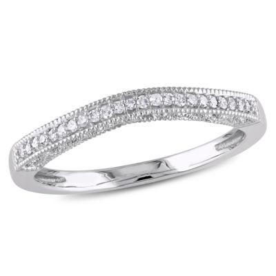 Womens Diamond Accent Genuine White Diamond Accent 10K White Gold Wedding Band