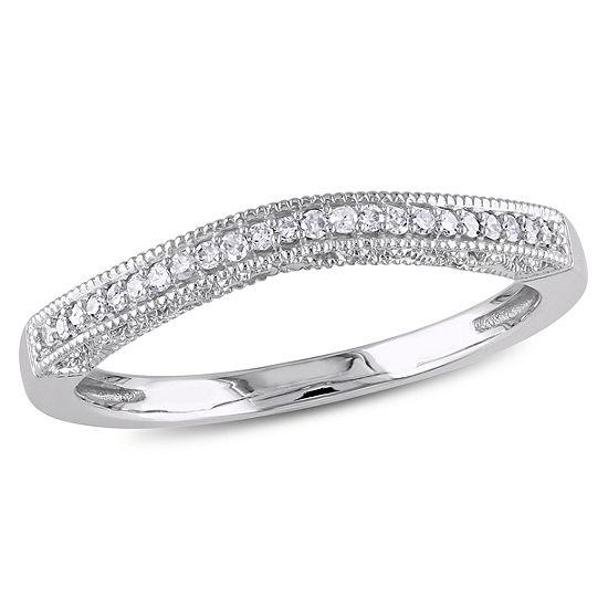 Womens Diamond Accent Genuine White Diamond 10K White Gold Wedding Band