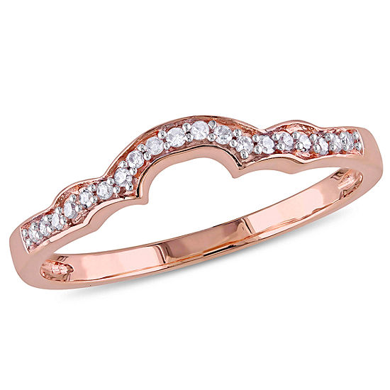 Womens Diamond Accent Genuine White Diamond 10k Rose Gold Wedding Band