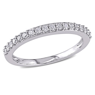 Womens 1/4 CT. T.W. Genuine White Diamond 10K White Gold Wedding Band