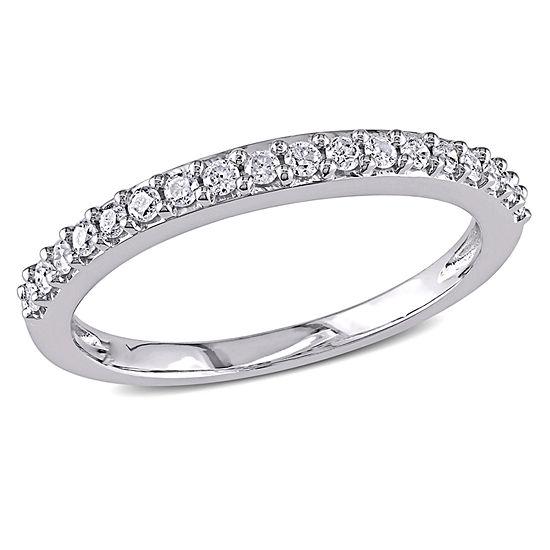 1/4 CT. T.W. Genuine White Diamond 10K White Gold Wedding Band
