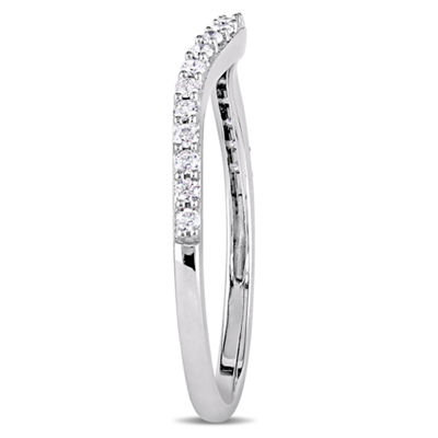 Womens 1/4 CT. T.W. Genuine White Diamond 14K White Gold Wedding Band