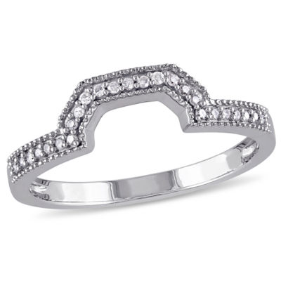 Womens 1/10 CT. T.W. Genuine White Diamond 10K White Gold Wedding Band