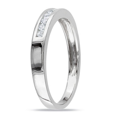 Womens 1/5 CT. T.W. Genuine White Diamond 10K White Gold Wedding Band
