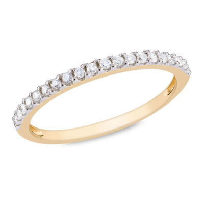Womens 1/5 CT. T.W. Genuine White Diamond 10K Gold Wedding Band