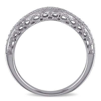Womens 1/8 CT. T.W. Genuine White Diamond 14K White Gold Wedding Band