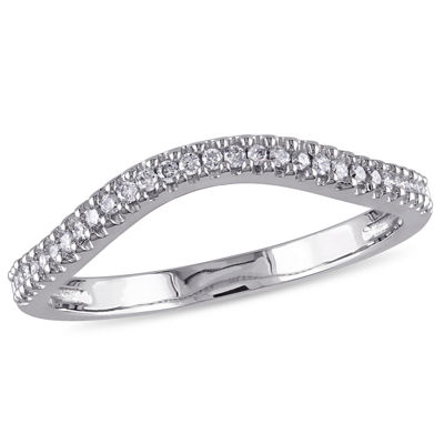 Womens 1/7 CT. T.W. Genuine White Diamond 10K White Gold Wedding Band