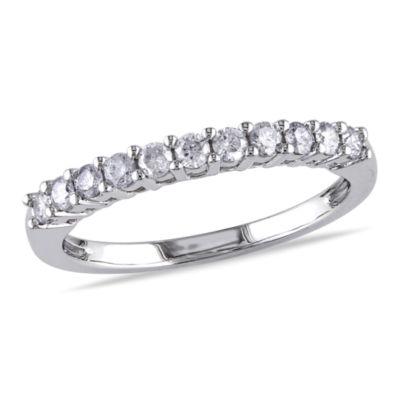 Womens 1/3 CT. T.W. Genuine White Diamond 14K White Gold Wedding Band