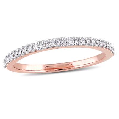 Womens 1/7 CT. T.W. Genuine White Diamond 14K Rose Gold Wedding Band