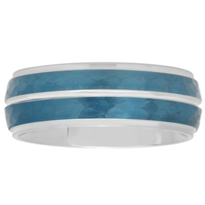 Mens Blue IP Hammered Striped Stainless Steel Wedding Band