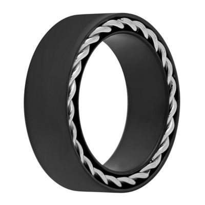 Mens Black IP & Twist Edge Detail Stainless Steel Wedding Band