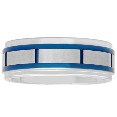 Mens Stainless Steel Blue IP with Brick Pattern Wedding Band