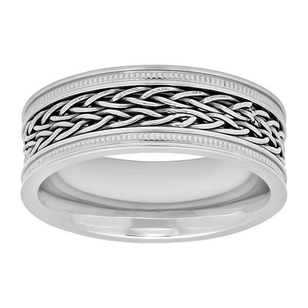 Mens Stainless Steel Woven Center Wedding Band