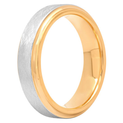 Mens Cobalt Satin Center & Yellow IP Wedding Band