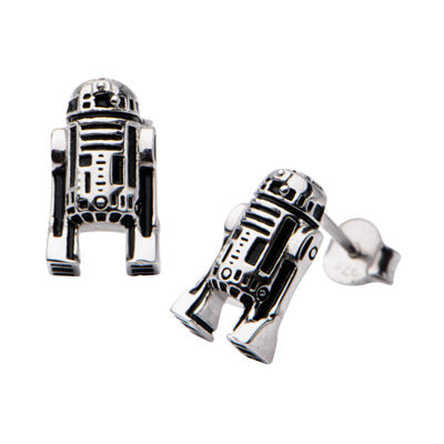 Sterling Silver 12.7mm Star Wars Stud Earrings