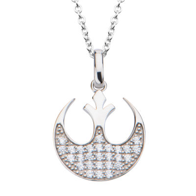 Womens Clear Cubic Zirconia Sterling Silver Star Wars Pendant Necklace