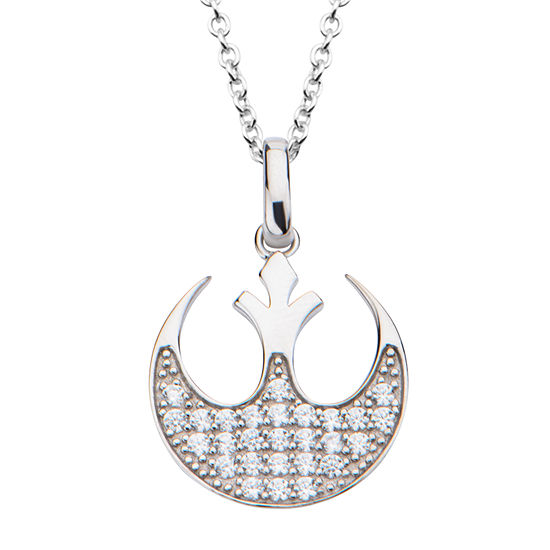 Womens Cubic Zirconia Sterling Silver Star Wars Pendant Necklace