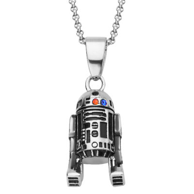 Womens Multi Color Cubic Zirconia Sterling Silver Star Wars Pendant Necklace