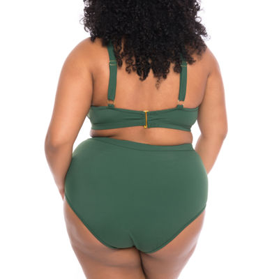 Boutique + High Neck Swimsuit Top-Plus