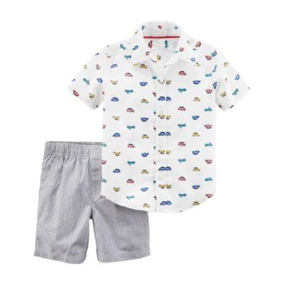 Carter's Car Short Sleeve Woven & Pull-On Short 2 Piece Set - Toddler Boys 2T-5T