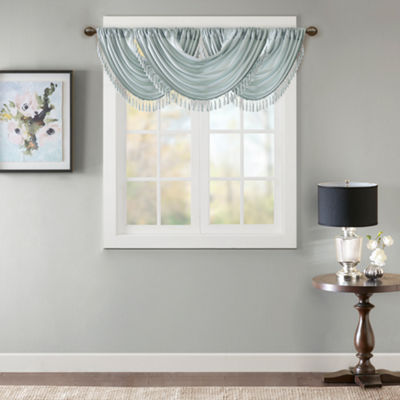 Madison Park Juline Solid Waterfall Embellished Rod-Pocket Waterfall Valance