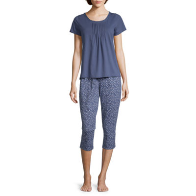 Adonna Womens Capri Pajama Set 2-pc. Short Sleeve Round Neck