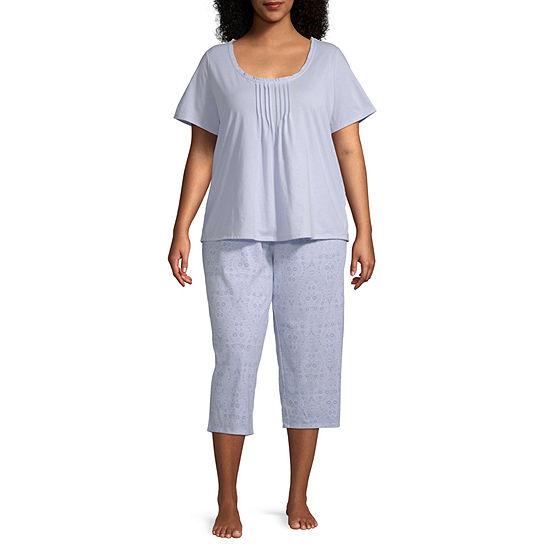 Adonna Womens Short Sleeve Scoop Neck Capri Pajama Set 2-pc - Plus
