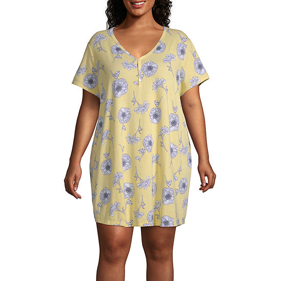 Liz Claiborne Womens Knit Nightshirt Short Sleeve