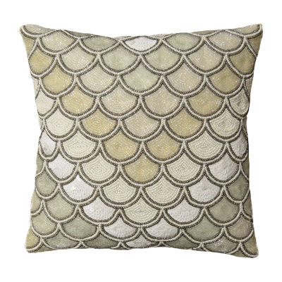 Beaded Iridescent Peacock Square Throw Pillow