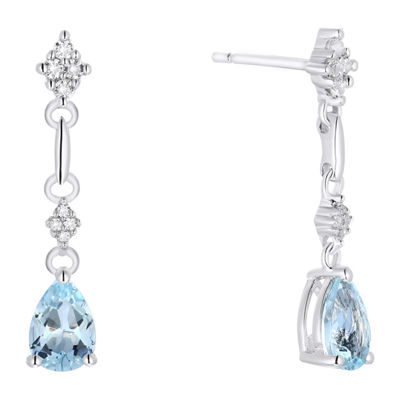 Genuine Aquamarine Sterling Silver Drop Earrings
