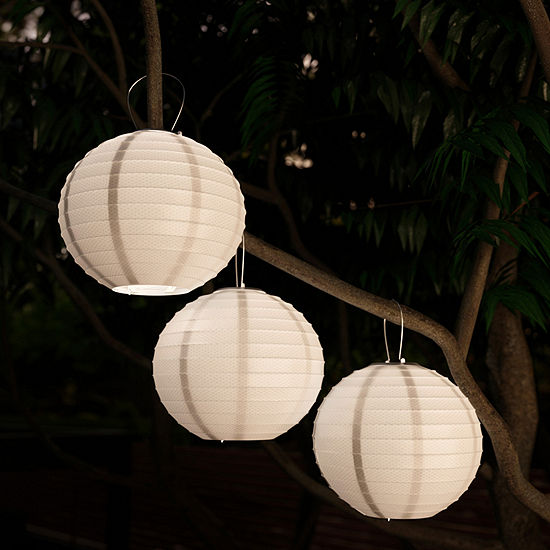 Pure Garden Set of Three Chinese Hanging Fabric Lanterns