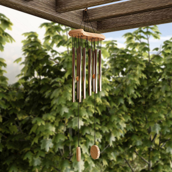 "Pure Garden 34.5"" Metal and Wood Wind Chime"