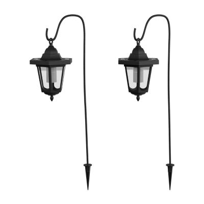 Pure Garden Set of Two Hanging Solar Coach Lights with Hooks
